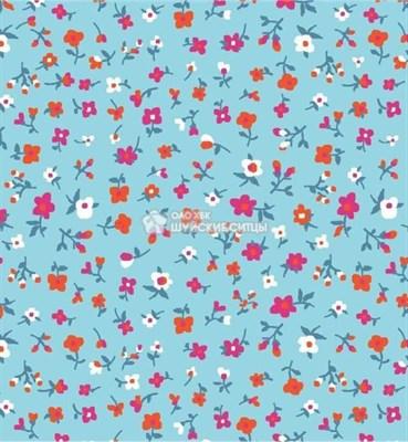 Отрез ситца размером 40*60 ткань Полина 392-80 (цветочки на голубом) - фото 4578