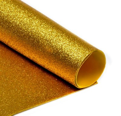 Глиттерный фоамиран 20х30, толщина 2мм, цвет золотистый - фото 4718