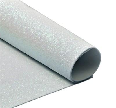 Глиттерный фоамиран 20х30, толщина 2мм, цвет белый перламутровый - фото 4719