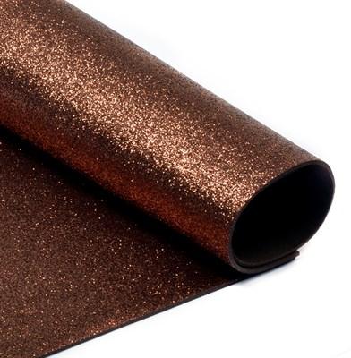 Глиттерный фоамиран 20х30, толщина 2мм, цвет шоколадный - фото 4722