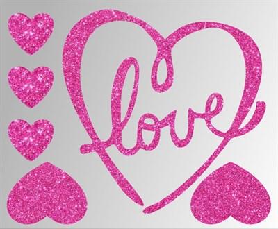 Термонаклейки глиттерные Love ТА-041, 115х95 мм - фото 6636