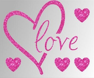 Термонаклейки глиттерные Love ТА-042, 115х95 мм - фото 6638