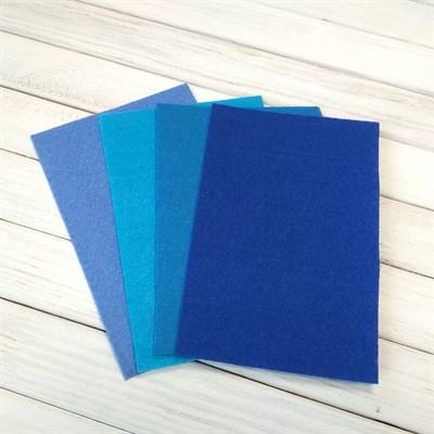Набор жесткого фетра, размер 10х15 см, 4 шт., цвет синий микс - фото 7071