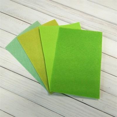 Набор жесткого фетра, размер 10х15 см, 4 шт., цвет светло-зеленый микс - фото 7079
