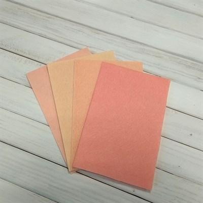 Набор жесткого фетра, размер 10х15 см, 4 шт., цвет персиковый микс - фото 7085