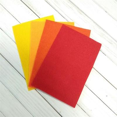 Набор жесткого фетра, размер 10х15 см, 4 шт., цвет красно-желтый микс - фото 7093