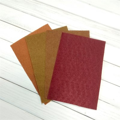 Набор жесткого фетра, размер 10х15 см, 4 шт., цвет коричневый микс - фото 7097