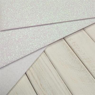 Фетр глиттерный 20х30см, 2 мм, цвет белый перламутр, 1 шт. - фото 7380