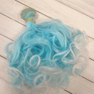 Трессы кукольные кудрявые, цвет голубой с белым, ширина 1 м, длина 15 см,  1 шт. - копия - фото 7776