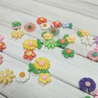 Набор пластиковых цветочков микс, 5 шт. - фото 7800