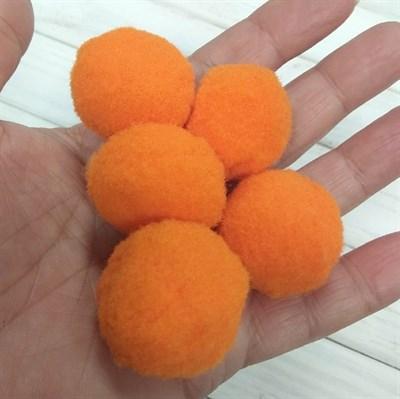 Помпоны синтетические, диаметр 3 см, цвет оранжевый, 5 шт. - фото 7810
