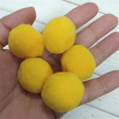 Помпоны синтетические, диаметр 3 см, цвет насыщенный желтый, 5 шт. - фото 7817