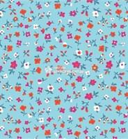 Отрез ситца размером 40*60 ткань Полина 392-80 (цветочки на голубом)