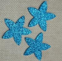 Цветочки из глиттерного фоамирана (упаковка -5 шт) бирюзовые