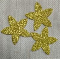 Цветочки из глиттерного фоамирана (упаковка -5 шт) золотые
