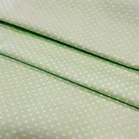 Отрез ткани бязь плательнаябелый горох на салатовом, 50*50 см - копия