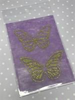 Набор украшений Бабочки золотой на сиреневом Б-005