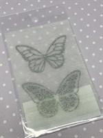 Набор украшений Бабочки серебряный на белом Б-006