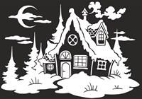 Украшения для окна из статической пленки (размер А4) Новогодний домик