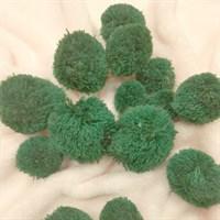 Помпоны кашемировые. Цвет зеленый. Размер микс от 3 до 5 см. Количество 5 шт.