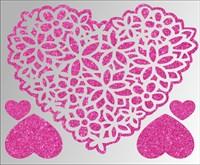 Термонаклейки глиттерные Сердечки и цветы ТА-032, 115х95 мм