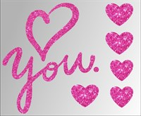 Термонаклейки глиттерные Love you ТА-040, 115х95 мм