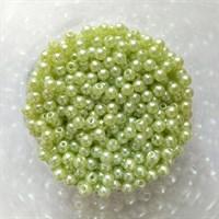 Бусины под жемчуг 4 мм цвет нежно-зеленый, 20 шт.