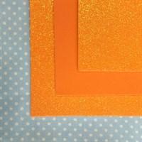Глиттерный фоамиран 20х30, толщина 2 мм, цвет оранжевый, 1 шт.
