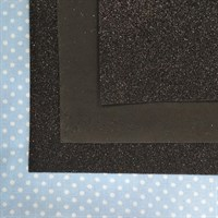 Глиттерный фоамиран 20х30, толщина 2 мм, цвет черный, 1 шт.