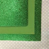 Глиттерный фоамиран 20х30, толщина 2 мм, цвет зеленый травяной, 1 шт.