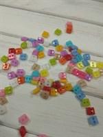 Пуговицы микро квадратные, диаметр 6 мм, пластик, набор 10 шт. микс