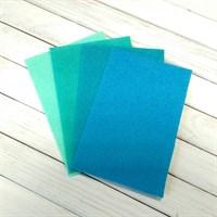 Набор жесткого фетра, размер 10х15 см, 4 шт., цвет мятно-изумрудный микс
