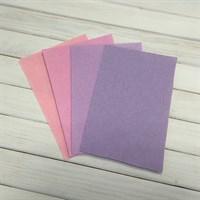 Набор жесткого фетра, размер 10х15 см, 4 шт., цвет сиренево-розовый микс