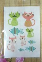 Термоналейка Разноцветные коты, 7х10 см, 1 лист