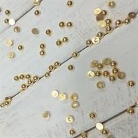 Полубусины с гальваническим покрытием, цвет золото, диаметр 4 мм, 7 гр