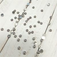 Полубусины с гальваническим покрытием, цвет серебро, диаметр 4 мм, 7 гр
