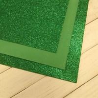Глиттерный фоамиран, 20х30 см, толщина 2 мм, цвет зеленый новогодний, 1 шт.