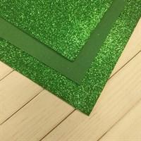 Глиттерный фоамиран, 20х30 см, толщина 2 мм, цвет зеленый травяной, 1 шт.
