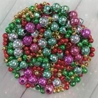 Бусины, диаметр 3, 4, 6 мм, цвет микс новогодний, 6 гр.