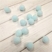 Помпоны синтетические, диаметр 15 мм, цвет бледно-голубой, 5 шт.