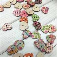 Пуговки деревянные, форма сердечки, цвет микс, 5 шт.