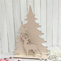 Набор заготовок для новогоднего декора Олень в лесу, 250х190 мм