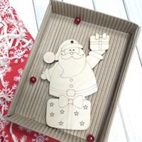 Заготовка из фанеры Дед Мороз и подарок, 80*115 мм,1 шт.