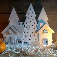 Набор заготовок для новогоднего декора Деревня в лесу
