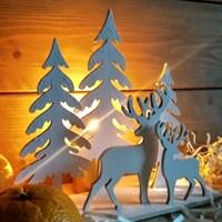 Набор заготовок для новогоднего декора Два оленя в лесу, 200х185 мм