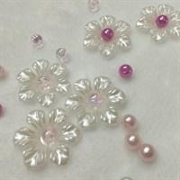 Цветочки пластиковые, цвет белый жемчужный, 25 мм, 5 шт.