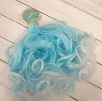 Трессы кукольные кудрявые, цвет голубой с белым, ширина 1 м, длина 15 см,  1 шт. - копия