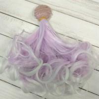 Трессы кукольные кудрявые, цвет сиреневый с белым, ширина 1 м, длина 15 см,  1 шт.