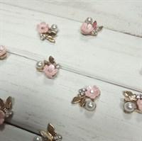 Заготовка для броши Цветок, цвет розовый, 1 шт.