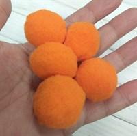 Помпоны синтетические, диаметр 3 см, цвет оранжевый, 5 шт.